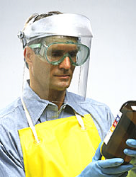 face shield over safety glasses