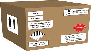 box with hazmat labels